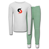 Kids' Pajama Set - white/green stripe