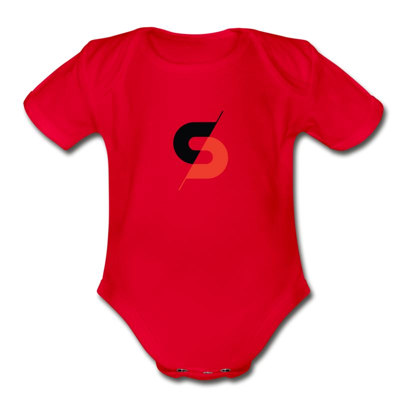 Short Sleeve Baby Bodysuit - red
