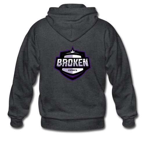 Broken eSports Heavy Blend Adult Zip Hoodie - deep heather