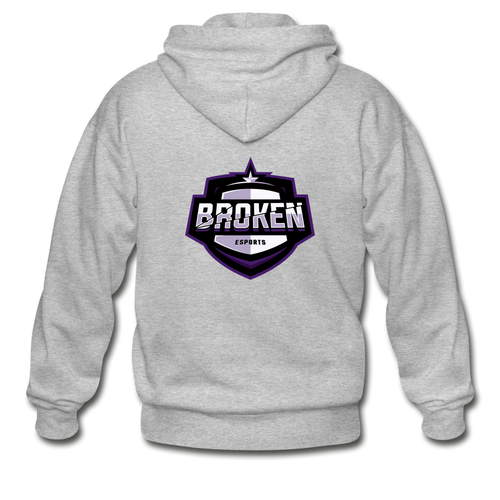 Broken eSports Heavy Blend Adult Zip Hoodie - heather gray