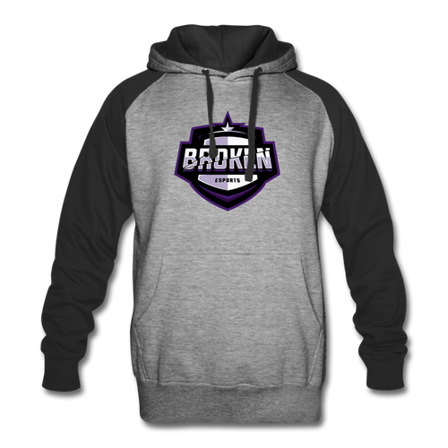Broken eSports Colorblock Hoodie - heather gray/black