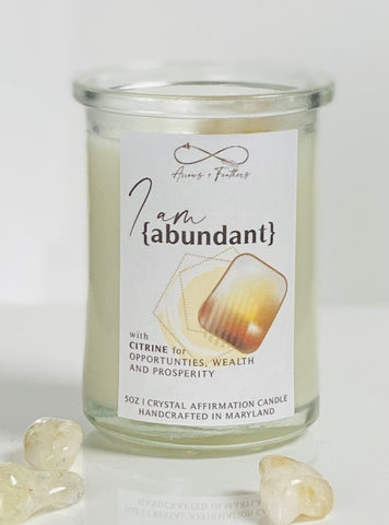 I am Abundant | Citrine Crystal Candle