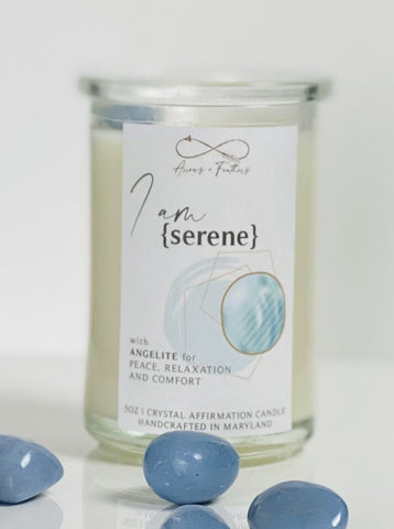 I am Serene | Angelite Crystal Candle