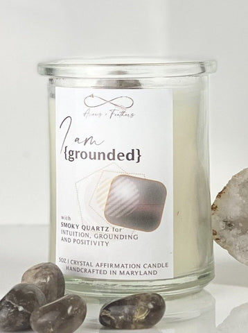 I Am Grounded | Smoky Quartz Crystal Candle