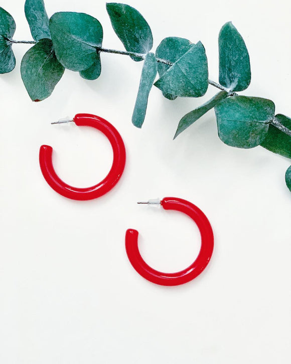 Mini Red Hoops - Resonate Jewelry