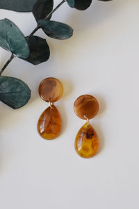 Tortoise Teardrop Studs - Resonate Jewelry