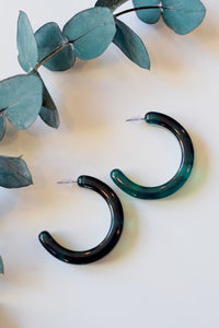 Emerald Chunky Hoops - Resonate Jewelry