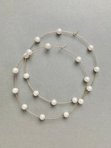 3 Inch Pearl Golden Hoops