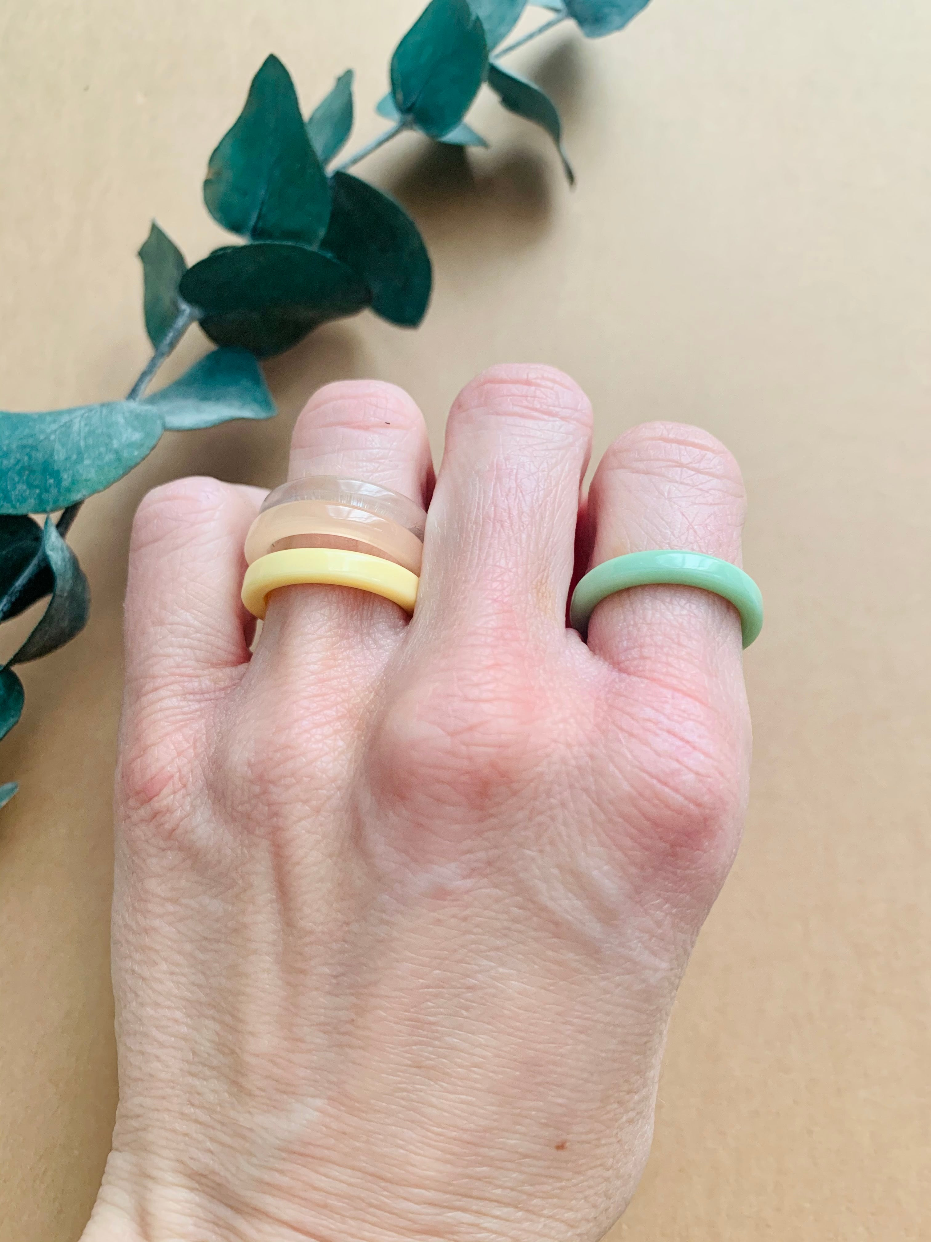 Vintage Resin Ring Mint Green