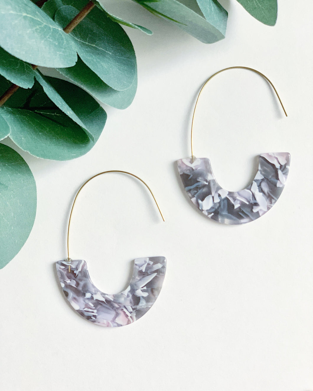 Grey Tortoise Shell Hooks - Resonate Jewelry