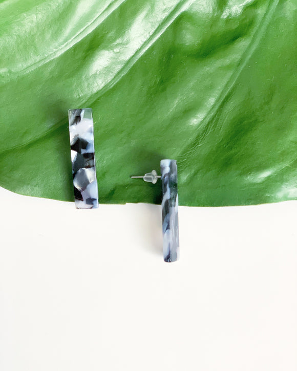 Black Tortoise Bar Studs - Resonate Jewelry