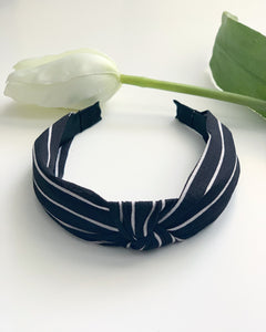 B&W Striped Knotted Headband - Resonate Jewelry