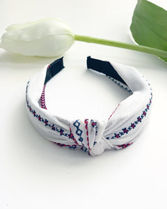 Bohemian White Knotted Headband - Resonate Jewelry