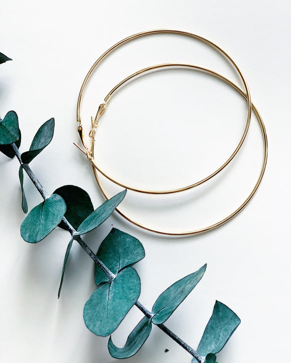 3 Inch Golden Hoops - Resonate Jewelry