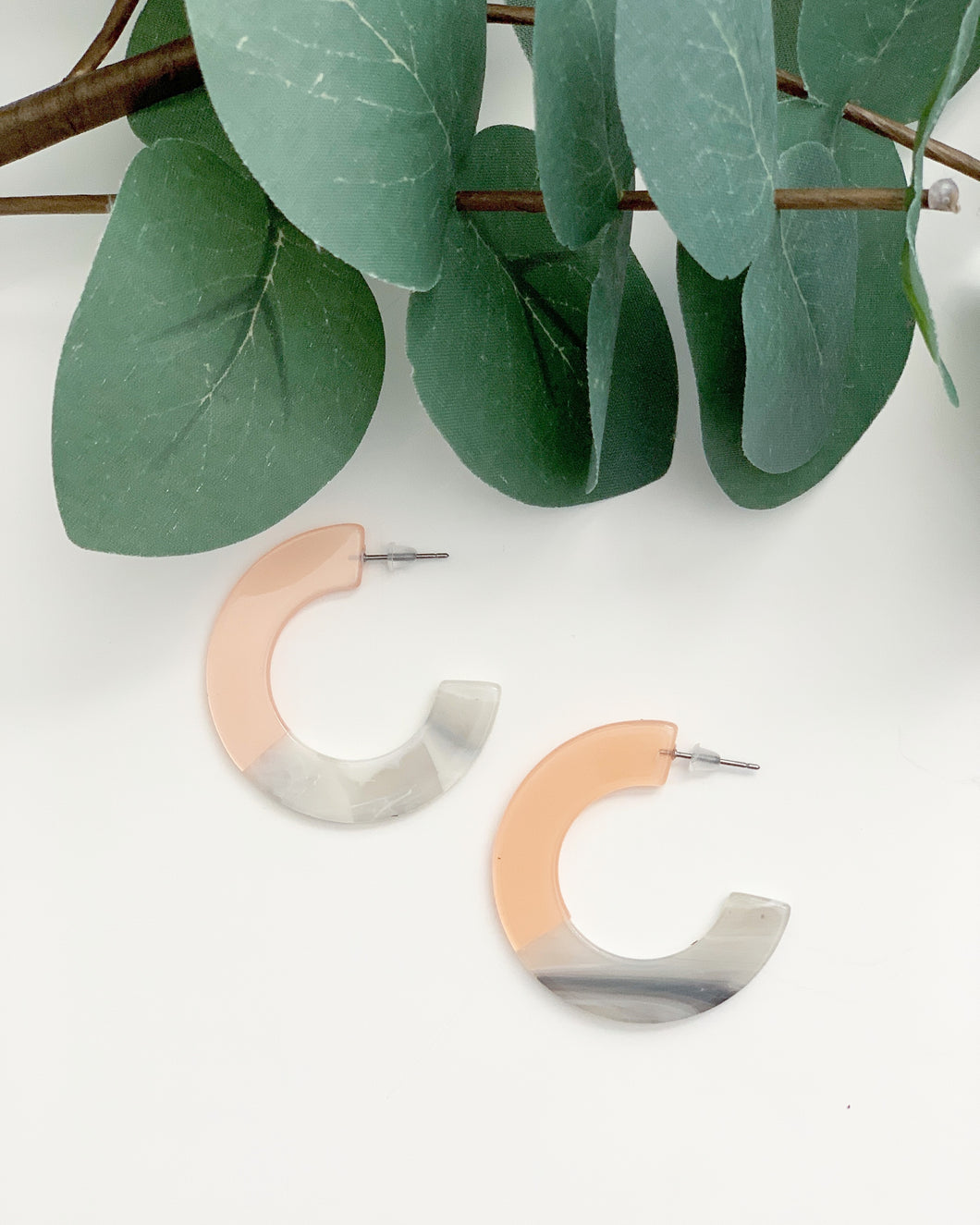 Blush Marble Mini Tortoise Hoops - Resonate Jewelry