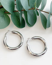 Load image into Gallery viewer, Silver 2inch Chunky Hoops - Resonate Jewelry