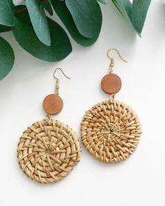 Wood & Straw Dangle Earrings - Resonate Jewelry