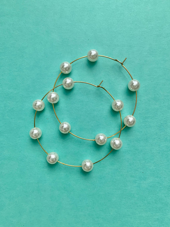 2 Inch Pearl Golden Hoops