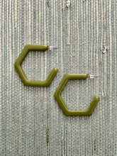 Load image into Gallery viewer, Olive Resin Hoops - Resonate Jewelry