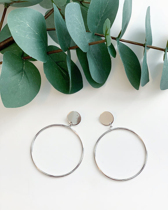 Silver Drop Hoops - Resonate Jewelry