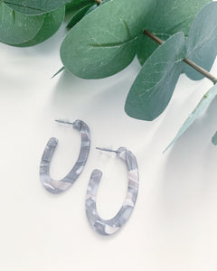 Mini Oval Grey Tortoise Hoops - Resonate Jewelry