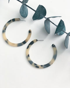 Flat Cream Tortoise Hoops - Resonate Jewelry