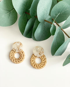 Marble Resin & Straw Hoops - Resonate Jewelry