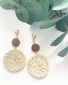 Light Wood & Straw Dangle Earrings - Resonate Jewelry