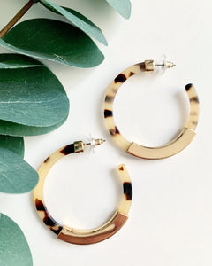 Cream & Gold Tortoise Hoops - Resonate Jewelry
