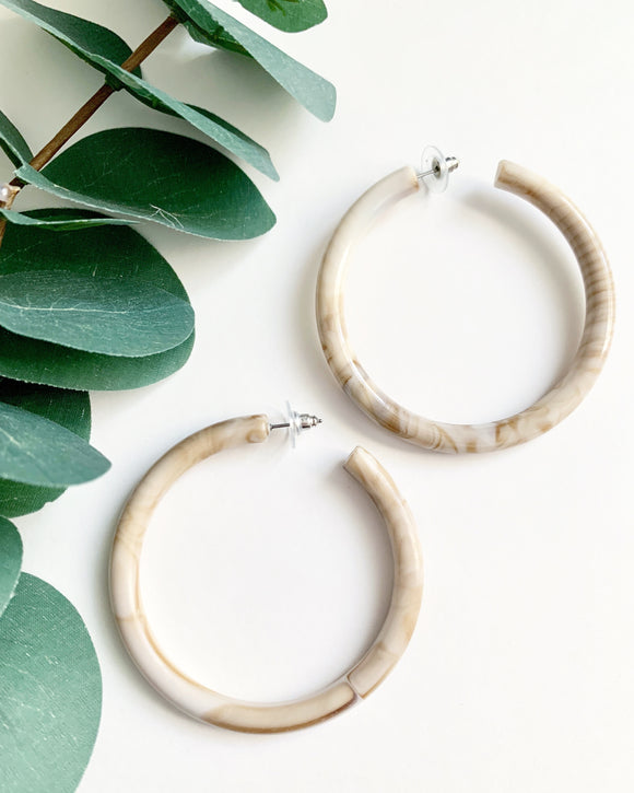 Chunky Taupe Hoops - Resonate Jewelry