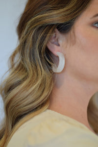 White Crystal Chunky Hoops - Resonate Jewelry