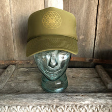 Load image into Gallery viewer, Trucker Hat Sri Yantra OLIVE/ Gold Ink