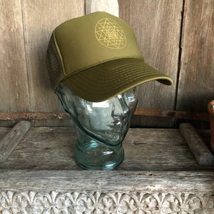 Trucker Hat Sri Yantra OLIVE/ Gold Ink