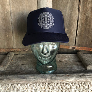 Trucker Hat Flower Of Life NAVY/ Silver Ink