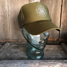 Load image into Gallery viewer, Trucker Hat Sri Yantra OLIVE / Silver Ink
