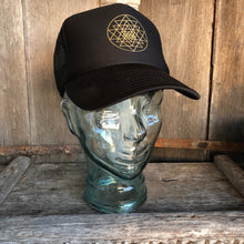 Load image into Gallery viewer, Trucker Hat Sri Yantra BLACK/ Gold Ink​