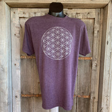 Load image into Gallery viewer, Men's Flower of Life T-Shirt Eggplant/Silver