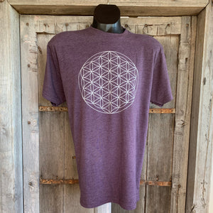 Men's Flower of Life T-Shirt Eggplant/Silver