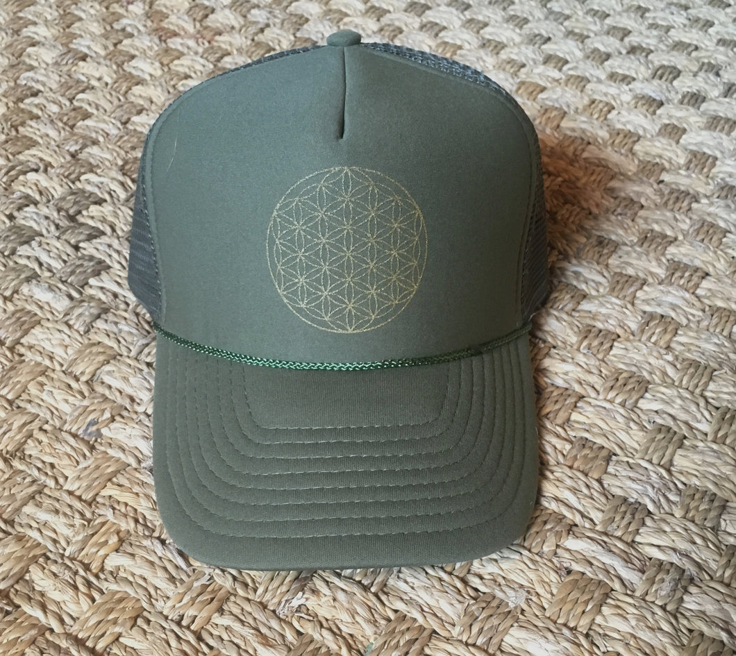 Trucker Hat Flower of Life GOLD on Green