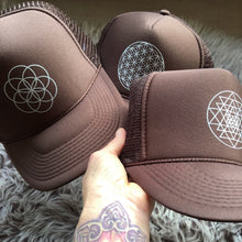Load image into Gallery viewer, Trucker Hat Sri Yantra BROWN/ Silver Ink