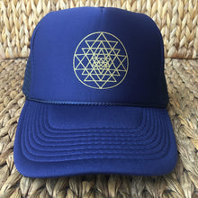 Load image into Gallery viewer, Trucker Hat Sri Yantra NAVY/ Gold Ink