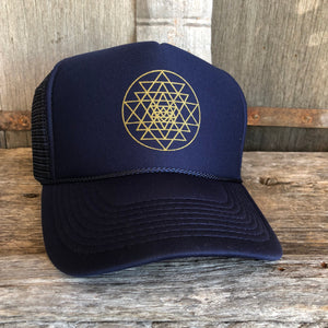 Trucker Hat Sri Yantra NAVY/ Gold Ink