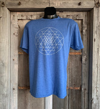 Load image into Gallery viewer, Men's Sri Yantra T-Shirt Vintage Blue/Silver