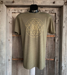 Men's Sri Yantra T-Shirt Olive/Gold