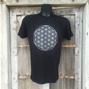 Men's Flower of Life T-Shirt Black/Silver