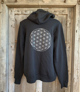 Hoodie Flower of Life Sweat Shirt Black/Silver