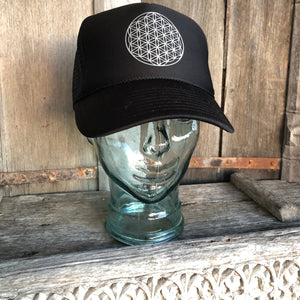 Trucker Hat Flower of Life BLACK/ Silver Ink​