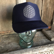 Load image into Gallery viewer, Trucker Hat Flower Of Life NAVY/ Silver Ink