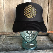 Load image into Gallery viewer, Trucker Hat Flower of Life BLACK/ Gold Ink​