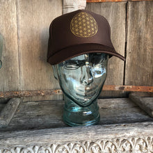 Load image into Gallery viewer, Trucker Hat Flower of Life BROWN/ Gold Ink​